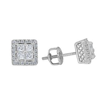 925 Sterling Silver Womens Mens Unisex Princess CZ Stud Square Cluster Fashion Earrings Measures 7 Jewelry Gifts for Men