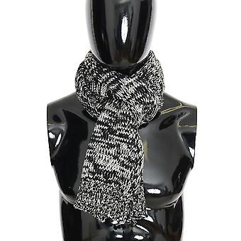 Dolce & Gabbana Black White Wool Knitted Scarf