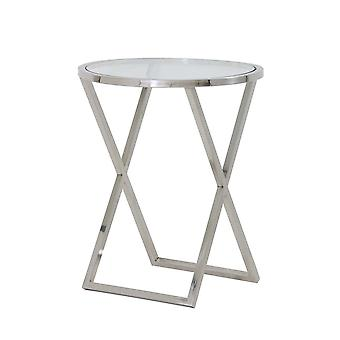 Light & Living Side Table 50x60cm Penco Nickel And Glass