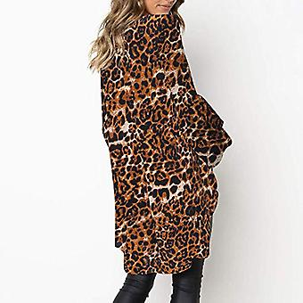 Leopard Print Fashion Women Long Sleeve Loose T Shirt, Khaki, Size X-Large