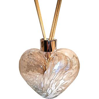 Amelia Art Glass Heart Shaped Reed Diffuser White