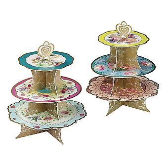 Alice in Wonderland Vintage Floral 3 Tier Cake Stand Wedding / Party