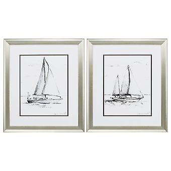 "19"" X 22"" Aged Silver Frame Coastal Boat Sketch (Set of 2)"