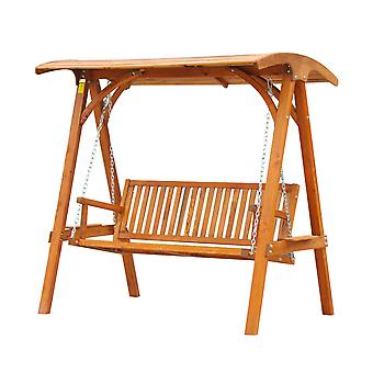 Outsunny 3 Seater Larch Wood Wooden Garden Swing Chair Seat Hammock Bench Lounger Wood