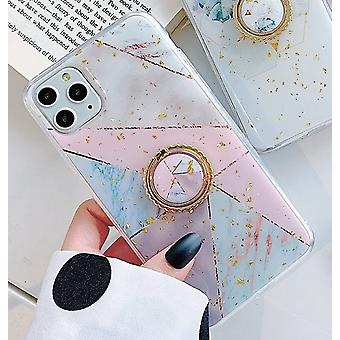 iPhone11 shell geometric shapes pattern gold flakes ring holder