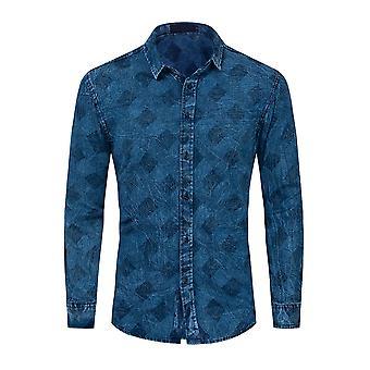 Allthemen Men's Ekose Baskılı Gömlek Gevşek Fit Mavi Uzun Kollu Denim Bluz