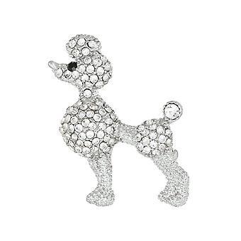 Evig samling Trixie Klar Crystal Silver Tone Pudel Dog Brosch