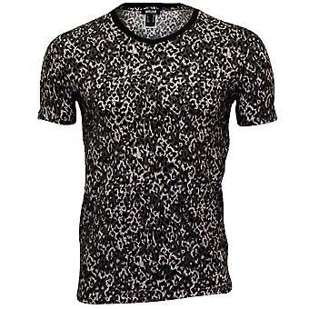 Just Cavalli Allover Leopard Skin Print V-Neck T-Shirt, Black