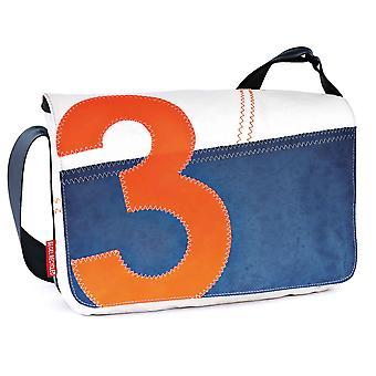 360 degree laptop bag 13 inches, cash register mini cross over shoulder bag white/blue with number neon orange, strap blue, canvas bag