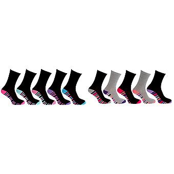 CottoniQue Womens/Ladies Coloured Striped Socks (Pack Of 5)