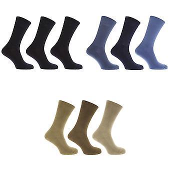 FLOSO Mens Premium kwaliteit katoen Rich kussen enige sokken (pak van 3)