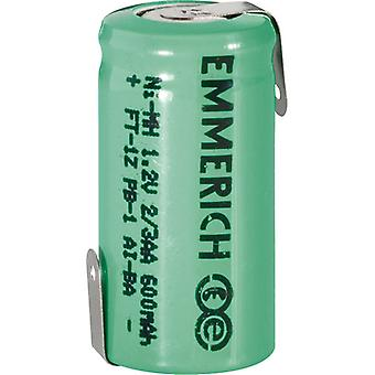 Emmerich 255020 NiMH 2/3 AA Size 1.2V 600mAh Rechargeable Battery Tagged