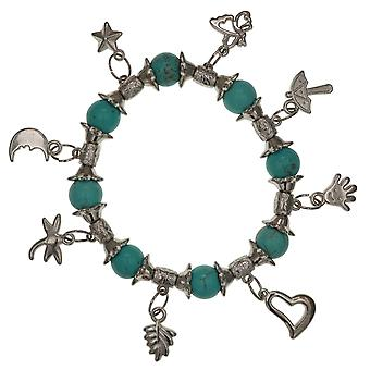 De Olivia collectie Fashion blauw-groene parel armband met Silvertone Charms