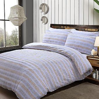 Seersucker Streifen Ocker Bettwäsche - Baumwolle reiche Bettbezug und Kissenbezug Set