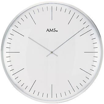 AMS 9540 wall clock quartz analogue white silver round