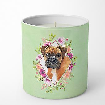 German Boxer Green Flowers 10 oz Decorative Soy Candle