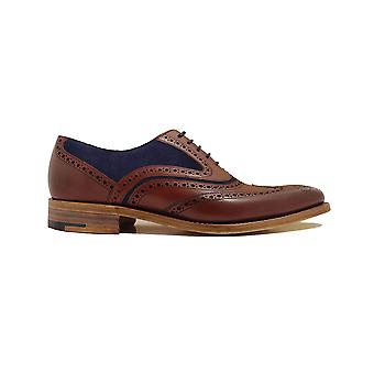 Barker McClean Rosewood Calf & Navy Suede Leather Mens Oxford Lace Shoes