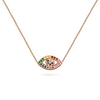 Collier Small Color Evil Eye 18K Or