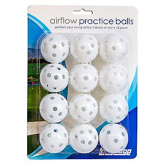 Longridge White Airflow Golf Practice Balls White 12 Pack