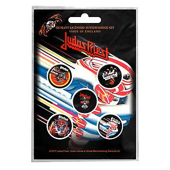 Judas Priest badge pack Band logo British Steel new Official 5 x Pin Button