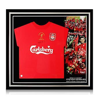 Steven Gerrard firmó la camiseta de la Liga de Campeones de Liverpool 2005. Premium Enmarcado