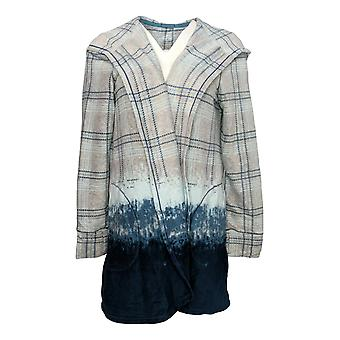 Cuddl Duds Women's Sweater Fleecewear Plaid Dip Dye Wrap Gray A368095