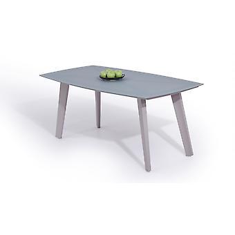 Alu Table à manger Verre dépoli 180 cm - gris soie