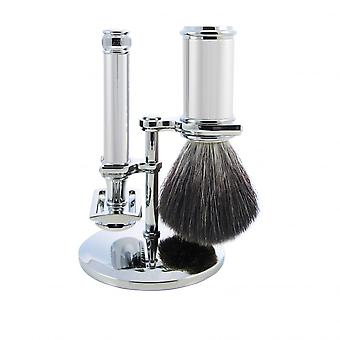 Set Of Shaving 3 Pieces Black Support Chrome - Edwin Jagger