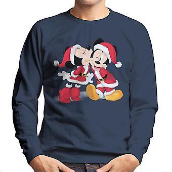 Disney Mickey & Minnie Mouse Navidad Santa Kiss Hombres's Sudadera