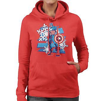 Marvel Navidad Capitán América Icy Snowflakes Mujeres's Sudadera encapuchada
