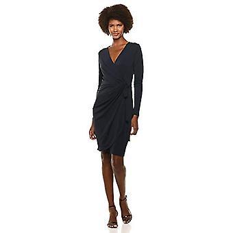 Brand - Lark & Ro Women's Classic Long Sleeve Wrap Dress, Navy, X-Large