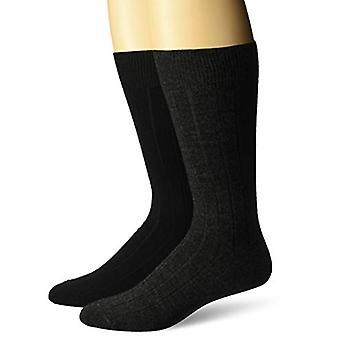 BUTTONED DOWN Men's 2-Pack Merino Wool Dress Socks, Black/Charcoal, Shoe Size...