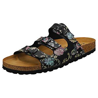 Cosmos Comfort Classic Three Strap Floral Womens Casual Sandals in Black Multicolour