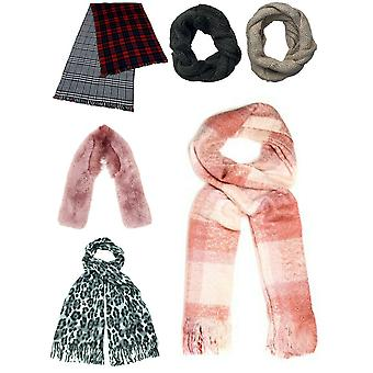 Womens Scarf Soft Warm Wooly Snood Long Winter Shawl Pattern Gift New