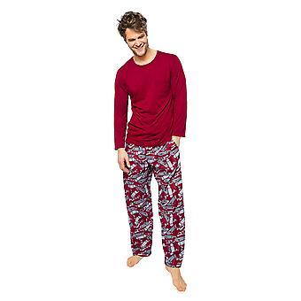 Cyberjammies Liam 6516 Miehet's Burgundy Mix Skeittilauta Tulosta Pyjama Pant