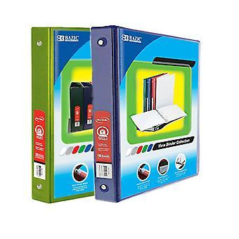 Combo44, BAZIC 1 Inch 3-Ring View Binder with 2-Pockets (Case pack of 24 consist 12-Lime Green & 12-Blue)