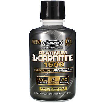 Muscletech, Essential Series, Platinum 100% L-Carnitine 1500, Post-Workout, Citr