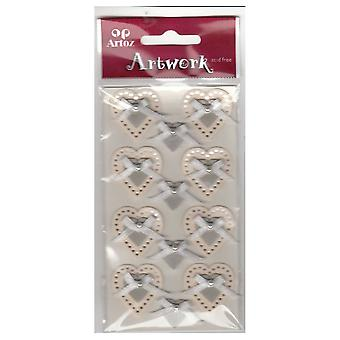 Cream Silver Wedding Hearts Bows Craft Embellishment By Artoz