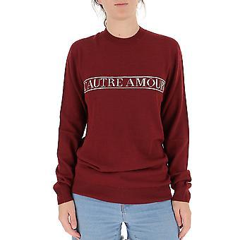 L'autre Koos B15310674014911 Dames's Burgundy Cotton Sweatshirt
