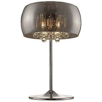 Spring Lighting - 3 Light Table Lamp Chrome, Copper, Crystal with Smoked Glass Shade, G9