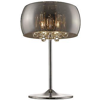 3 Lámpara de mesa ligera cromo, cobre, cristal con sombra de vidrio ahumado, G9