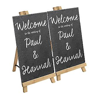 12 Piece Small Wooden Easel and Slate Chalk Board Set - Wedding or Special Events Display