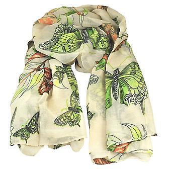 Ties Planet Butterfly & Birds Animal Print Ivory Letvægts Kvinder 's sjal tørklæde
