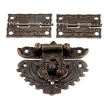 2pcs Antique Bronze Furniture Hardware Box Latch Hasp Toggle Buckle Decorative For Jewelry Wooden Box