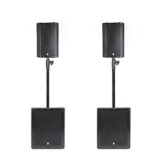 Big gig rig 44 - compact active 1600w rms 8 tops and 12 subwoofer pa system with bluetooth