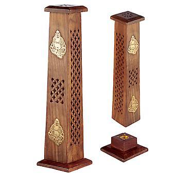 Decorative Buddha Sheesham Wood Incense Burner Tower X 1 Pack