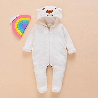Winter, Baby, Jumpsuit Fur, Cartoon Bear, Lange Mouw Ritsen Hooded
