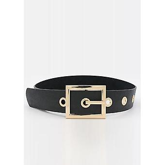 Faux Leather Chunky Wide Square Buckle Belt Czarny