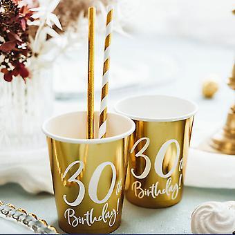 30歳の誕生日ゴールドペーパーパーティーカップデコレーション x 6