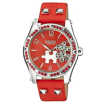 Rebel Women-apos;s RB111-4051 Gravesend Crystal Puzzel Piece Dial Red Leather Watch